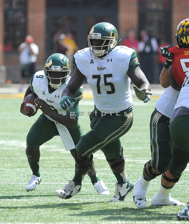 South Florida Bulls Kofi Amichia (75) during a game against the Maryland Terrapins on September 19, 2015 at Byrd Stadium in College Park, MD. Maryland beat South Florida 35-17.