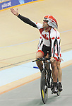 November 15 2011 - Guadalajara, Mexico:  Daniel Chalifour with his pilot Ed Veal after winning gold the Men's Pursuit Final competing in the Men's C1-C5 1k in the Panamerican Velodrome at the 2011 Parapan American Games in Guadalajara, Mexico.  Photos: Matthew Murnaghan/Canadian Paralympic Committee