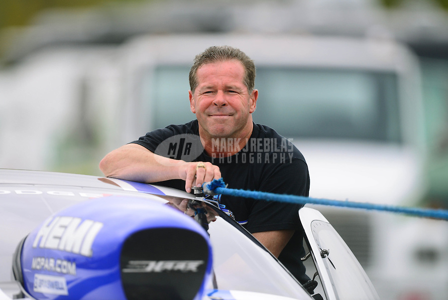 Sept. 16, 2012; Concord, NC, USA: NHRA pro stock driver Allen Johnson during the O'Reilly Auto Parts Nationals at zMax Dragway. Mandatory Credit: Mark J. Rebilas-