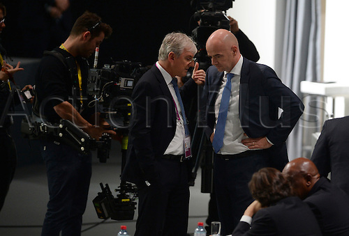 26.02.2016. Zurich, Switzerland.  Swiss Gianni Infantino (R), candidate for FIFA President, waits for the ballots to be counted during the second round of voting at the Extraordinary FIFA Congress 2016 at the Hallenstadion in Zurich, Switzerland, 26 February 2016. The Extraordinary FIFA Congress is being held in order to vote on the proposals for amendments to the FIFA Statutes and choose the new FIFA President.