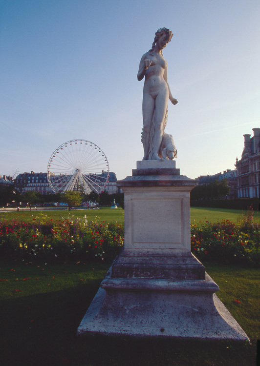 Paris, France, Jardin des Carrousel , statue, carousel, entrance to the Louvre Museum, Right Bank, First Arrondissement, Also considered the Jardin des Tuileries, .