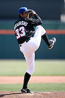 April 25, 2009:  Relief Pitcher Ken Takahashi of the Buffalo Bisons, International League Class-AAA affiliate of the New York Mets, delivers a pitch during a game at the Coca-Cola Field in Buffalo, NY.  Photo by:  Mike Janes/Four Seam Images