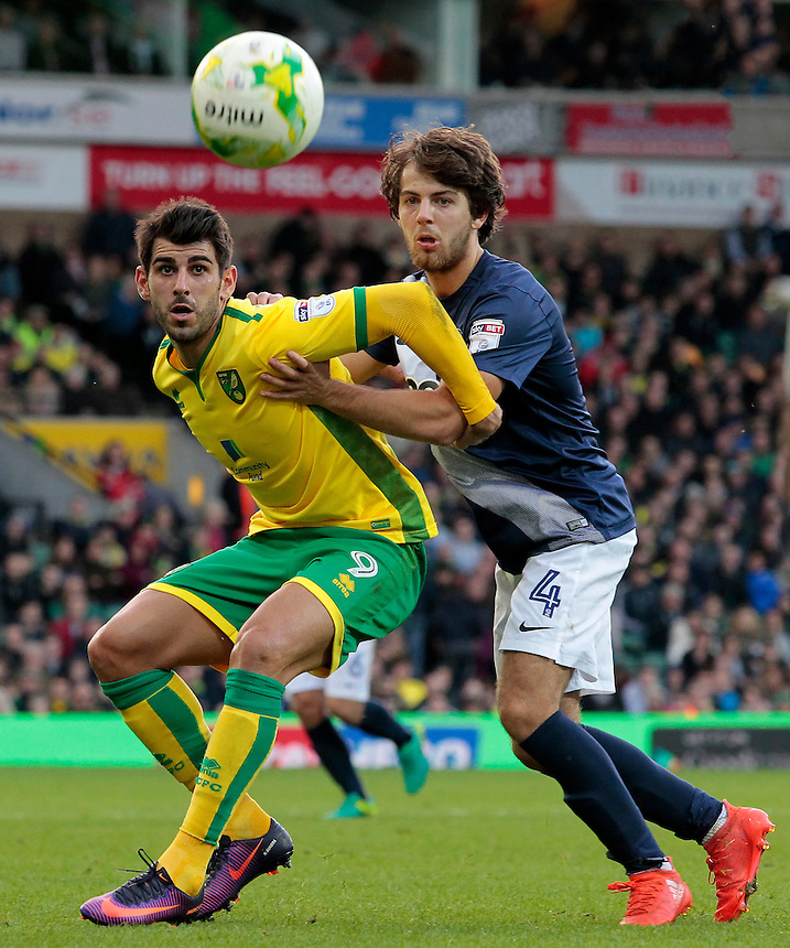 Preston North End's Ben Pearson battles with Norwich City's Nelson Oliveira<br /> <br /> Photographer David Shipman/CameraSport<br /> <br /> The EFL Sky Bet Championship - Norwich City v Preston North End - Saturday 22nd October 2016 - Carrow Road - Norwich<br /> <br /> World Copyright &copy; 2016 CameraSport. All rights reserved. 43 Linden Ave. Countesthorpe. Leicester. England. LE8 5PG - Tel: +44 (0) 116 277 4147 - admin@camerasport.com - www.camerasport.com