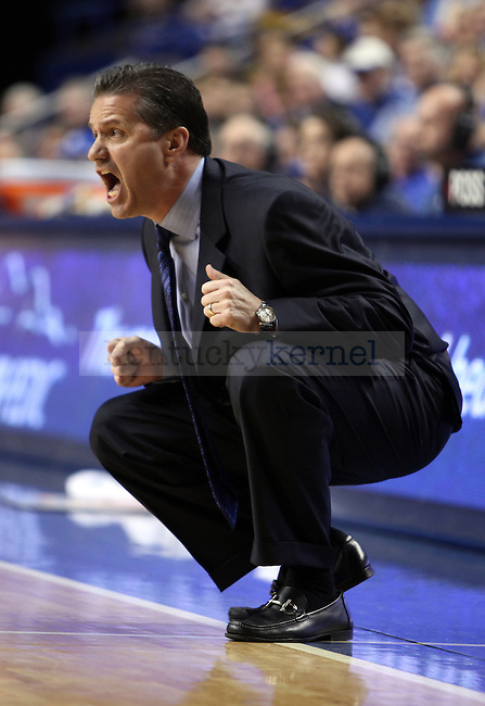 Coach Calipari yells after Josh Harrellson missed a rebound in the first half of UK vs. Florida  at Rupp Arena on Saturday, Feb. 26, 2011.  Photo by Britney McIntosh | Staff