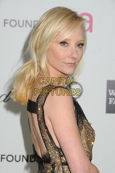 Anne Heche.20th Annual Elton John Academy Awards Viewing Party held at West Hollywood Park, West Hollywood, California, USA..February 26th, 2012.headshot portrait black gold back behind rear ponytail  half length side  beads beaded oscars.CAP/ADM/BP.©Byron Purvis/AdMedia/Capital Pictures.