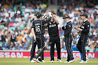 Colin de Grandhomme (New Zealand) celebrates the big wicket of Virat Kolli (India) during India vs New Zealand, ICC World Cup Warm-Up Match Cricket at the Kia Oval on 25th May 2019