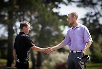 Mitchell James and Sam Jones shake hands at the end of their round, Jones won. New Zealand Amateur Golf Championship, Remuera Gold Club, Auckland, New Zealand. Sunday 3rd st November 2019. Photo: Greg Bowker/www.bwmedia.co.nz/NZGolf<br /> COPYRIGHT:© www.bwmedia.co.nz
