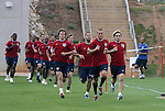 Bobby Convey (r) and (from right) Jimmy Conrad, Clint Dempsey, and non-roster practice player Michael Bradley lead a pack of players in a timed run on Thursday, May 11th, 2006 at SAS Soccer Park in Cary, North Carolina. The United States Men's National Soccer Team held a training session as part of their preparations for the upcoming 2006 FIFA World Cup Finals being held in Germany.