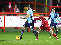 Max Müller of Wycombe Wanderers gets the better of Jordan Clark of Accrington Stanley <br /> during the Sky Bet League 2 match between Accrington Stanley and Wycombe Wanderers at the wham stadium, Accrington, England on 28 February 2017. Photo by Tony  KIPAX.