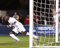 Kofi Sarkodie #8 of the University of Akron turns away after scoring the winning goal during the 2010 College Cup semi-final against the University of Michigan at Harder Stadium, on December 10 2010, in Santa Barbara, California. Akron won 2-1.