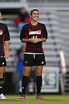 04 October 2014: Louisville's Chatham DeProspo. The Duke University Blue Devils hosted the University of Louisville Cardinals at Koskinen Stadium in Durham, North Carolina in a 2014 NCAA Division I Women's Soccer match. The game ended in a 0-0 tie after double overtime.