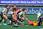 The Hague, Netherlands, June 08: Rosario Luchetti #4 of Argentina tries to score during the field hockey group match (Women - Group B) between England and Argentina on June 8, 2014 during the World Cup 2014 at Kyocera Stadium in The Hague, Netherlands. Final score 1-2 (1-1)  (Photo by Dirk Markgraf / www.265-images.com) *** Local caption *** Maria Josefina Sruoga #30 of Argentina, Carla Rebecchi #11 of Argentina, Rosario Luchetti #4 of Argentina, Maddie Hinch #1 of England