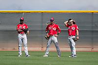 Cincinnati Reds outfielders Taylor Trammell (17), Miles Gordon (23), and Stuart Fairchild (16) during a Minor League Spring Training game against the Los Angeles Angels at the Cincinnati Reds Training Complex on March 15, 2018 in Goodyear, Arizona. (Zachary Lucy/Four Seam Images)