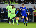 Leicester's Jamie Vardy tussles with Manchester City's Raheem Sterling<br /> <br /> Barclays Premier League- Leicester City vs Manchester City - King Power Stadium - England - 29th December 2015 - Picture - David Klein/Sportimage