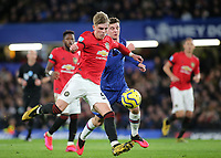 Brandon Williams of Manchester United in action during Chelsea vs Manchester United, Premier League Football at Stamford Bridge on 17th February 2020