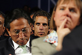 New York, NY - September 22, 2009 -- Ben Stiller watches United States President Barack Obama deliver remarks at the Clinton Global Initiative at the Sheraton Hotel in New York City on Tuesday, September 22, 2009.  .Credit: John Angelillo / Pool via CNP