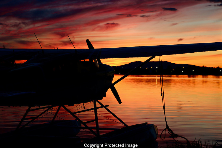 Seaplane Sunset Lake Spenard Anchorage Alaska