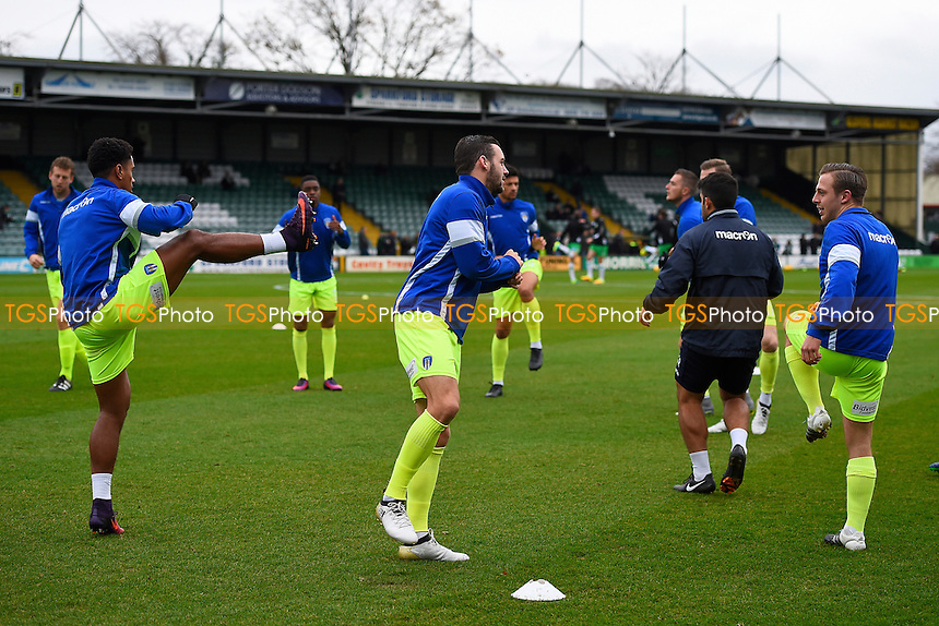 Colchester United players warm up during Yeovil Town vs Colchester United, Sky Bet EFL League 2 Football at Huish Park on 19th November 2016
