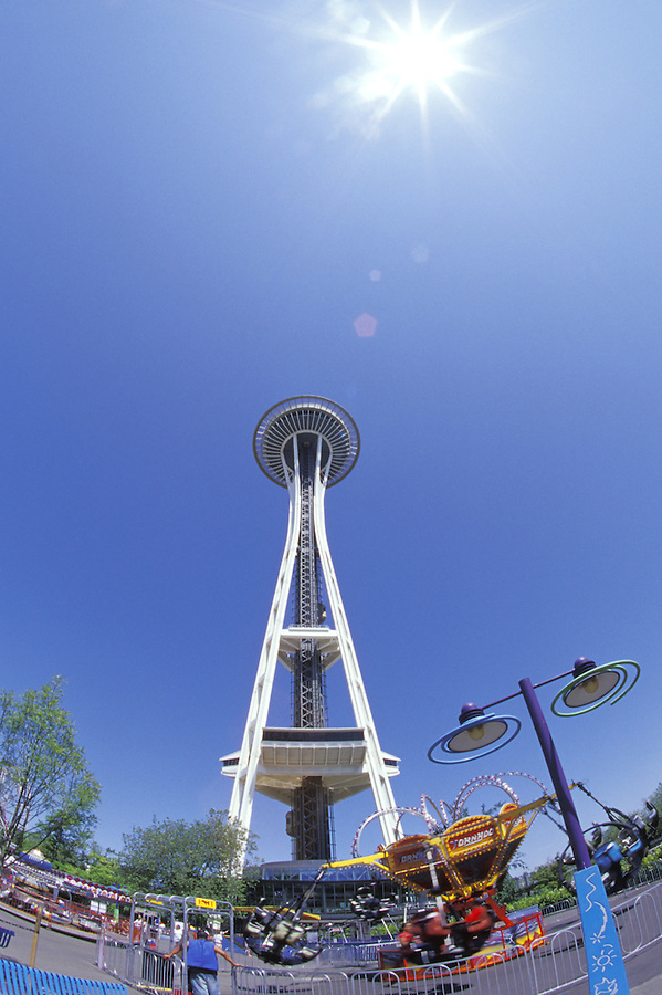 Looking up at Seattle Space Needle over the Fun Forest, Seattle, Washington