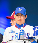 Cha Woo-chan, Mar 28, 2016 : South Korean baseball team Samsung Lions' pitcher Cha Woo-chan attends a media day and fanfest of 10 clubs in the Korea Baseball Organization (KBO) in Seoul, South Korea. (Photo by Lee Jae-Won/AFLO) (SOUTH KOREA)