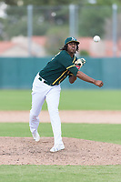 Oakland Athletics relief pitcher Eric Marinez (47) delivers a pitch during an exhibition game against Team Italy at Lew Wolff Training Complex on October 3, 2018 in Mesa, Arizona. (Zachary Lucy/Four Seam Images)