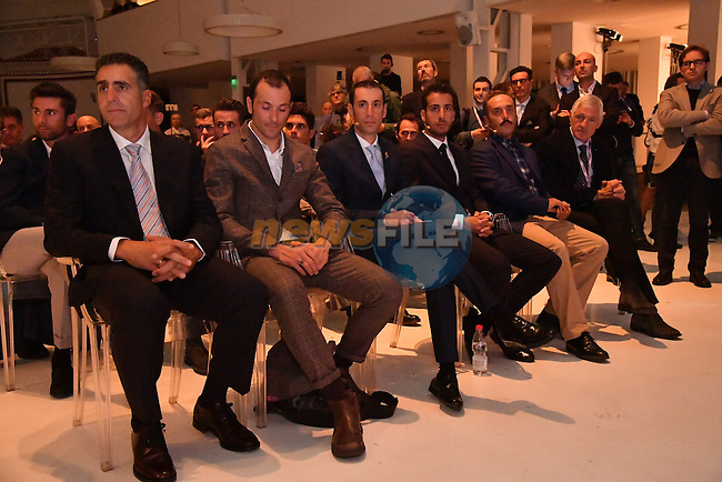 The 100th edition Giro d`Italia 2017 route presentation held at the Ice Palace in Milan, 25th October 2016.<br /> Picture: ANSA/Luca Zennaro | Newsfile<br /> <br /> <br /> All photos usage must carry mandatory copyright credit (&copy; Newsfile | ANSA/Luca Zennaro)