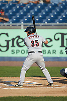 Colton Shaver (35) of the Fayetteville Woodpeckers at bat against the Wilmington Blue Rocks at Frawley Stadium on June 6, 2019 in Wilmington, Delaware. The Woodpeckers defeated the Blue Rocks 8-1. (Brian Westerholt/Four Seam Images)