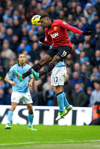 09.12.2012 Manchester, England. Manchester United's English forward Danny Welbeck in action during the Premier League game between Manchester City and Manchester United from the Etihad Stadium. Manchester United scored a late winner to take the game 2-3.