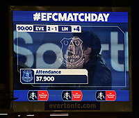 The scoreboard shows the attendance of 37,900 with an image of Lincoln City manager Danny Cowley behind the Everton club crest<br /> <br /> Photographer Andrew Vaughan/CameraSport<br /> <br /> Emirates FA Cup Third Round - Everton v Lincoln City - Saturday 5th January 2019 - Goodison Park - Liverpool<br />  <br /> World Copyright &copy; 2019 CameraSport. All rights reserved. 43 Linden Ave. Countesthorpe. Leicester. England. LE8 5PG - Tel: +44 (0) 116 277 4147 - admin@camerasport.com - www.camerasport.com