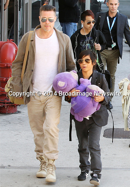 Pictured: Brad Pitt, Angelina Jolie, Shiloh Nouvel Jolie-Pitt, Maddox Chivan Jolie-Pitt, Pax Thien Jolie-Pitt, Knox Leon Jolie-Pitt, Zahara Marley Jolie-Pitt, Vivienne Marcheline Jolie-Pitt<br /> Mandatory Credit &copy; Ben Foster/Broadimage<br /> Brad Pitt, Angelina Jolie and family arriving at the Los Angeles International Airport<br /> <br /> 2/5/14, Los Angeles, California, United States of America<br /> <br /> Broadimage Newswire<br /> Los Angeles 1+  (310) 301-1027<br /> New York      1+  (646) 827-9134<br /> sales@broadimage.com<br /> http://www.broadimage.com<br /> <br /> <br /> Pictured: Brad Pitt, Angelina Jolie, Shiloh Nouvel Jolie-Pitt, Maddox Chivan Jolie-Pitt, Pax Thien Jolie-Pitt, Knox Leon Jolie-Pitt, Zahara Marley Jolie-Pitt, Vivienne Marcheline Jolie-Pitt<br /> Mandatory Credit &copy; Ben Foster/Broadimage<br /> Brad Pitt, Angelina Jolie and family arriving at the Los Angeles International Airport<br /> <br /> 2/5/14, Los Angeles, California, United States of America<br /> Reference: 020514_HDLA_BDG_029<br /> <br /> Broadimage Newswire<br /> Los Angeles 1+  (310) 301-1027<br /> New York      1+  (646) 827-9134<br /> sales@broadimage.com<br /> http://www.broadimage.com