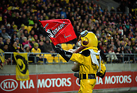 Captain Hurricane takes a Crusaders flag from the crowd during the Super Rugby match between the Hurricanes and Crusaders at Westpac Stadium in Wellington, New Zealand on Saturday, 15 July 2017. Photo: Dave Lintott / lintottphoto.co.nz