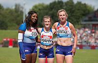 100m Women - T37/38 - (l-r) Kadeena COX, Sophie HAHN & Georgina HERMITAGE of GBR during the Muller Grand Prix Birmingham Athletics at Alexandra Stadium, Birmingham, England on 20 August 2017. Photo by Andy Rowland.