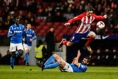 9th January 2018, Wanda Metropolitano, Madrid, Spain; Copa del Rey football, round of 16, second leg, Atletico Madrid versus Lleida; Fernando Torres (Atletico de Madrid) jumps the slide tackle from the defender