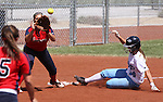 Centennial's Heather Bowen slides safely into second against Coronado's Nicole Hardy during the state championship softball tournament at the University of Nevada, Reno, in Reno, Nev., on Saturday, May 20, 2012. .Photo by Cathleen Allison