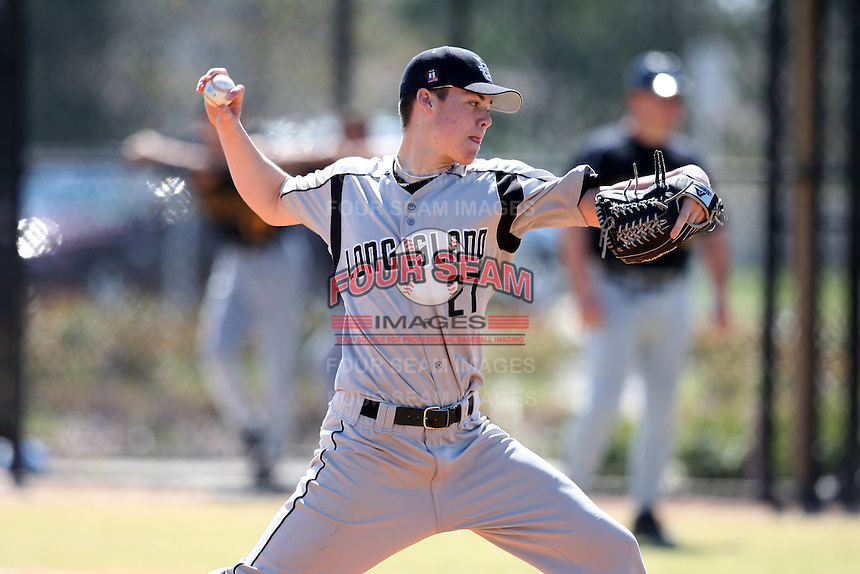 March 15, 2010:  Pitcher Justin Topa (27) of the Long Island University Blackbirds vs. UMBC at Lake Myrtle Park in Auburndale, FL.  Photo By Mike Janes/Four Seam Images