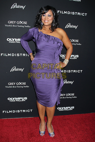"Lela Rochon.""Olympus Has Fallen"" Los Angeles Premiere held at ArcLight Cinemas Cinerama Dome, Hollywood, California, USA..March 18th, 2013.full length dress sleeve hand on hip purple ruffle one shoulder .CAP/ADM/RE.©Russ Elliot/AdMedia/Capital Pictures."