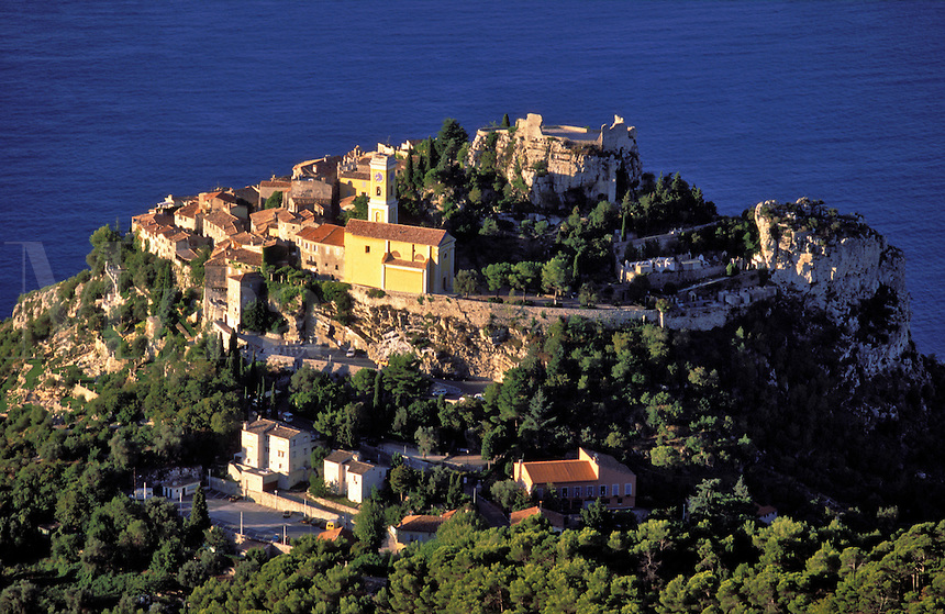 Close up of Eze, ancient hilltop village nestling on a pinnacle high above the Mediterranean.  Alpes Maritimes, Provence, France..