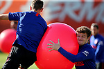 Atletico de Madrid's Saul Niguez (l) and Kieran Trippier during training session. May 28,2020.(ALTERPHOTOS/Atletico de Madrid/Pool)