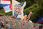 11.08.2019, Salmtalstadion, Salmrohr, GER, DFB-Pokal, 1. Runde FSV Salmrohr vs Holsteinm Kiel<br /> <br /> DFB REGULATIONS PROHIBIT ANY USE OF PHOTOGRAPHS AS IMAGE SEQUENCES AND/OR QUASI-VIDEO.<br /> <br /> im Bild / picture shows<br /> <br /> Kieler Fans / Fanblock<br /> <br /> Foto © nordphoto / Schwarz