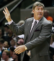 Detroit head coach Bill Laimbeer gestures to his players during Game 2 of the WNBA Finals between the Detroit Shock and the San Antonio Silver Stars, Oct. 3, 2008, at the AT&T Center in San Antonio. Detroit won 69 - 61 to go up 2 - 0 in the best-of-five series. (Darren Abate/pressphotointl.com)