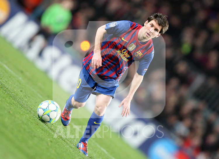 Lionel Messi of FC Barcelona during the UEFA Champions League round of 16 second leg match between FC Barcelona and Bayern 04 Leverkusen at Camp Nou on March 7, 2012 in Barcelona, Spain. FC Barcelona won 7-1 and Lionel Messi scored 5 goals.