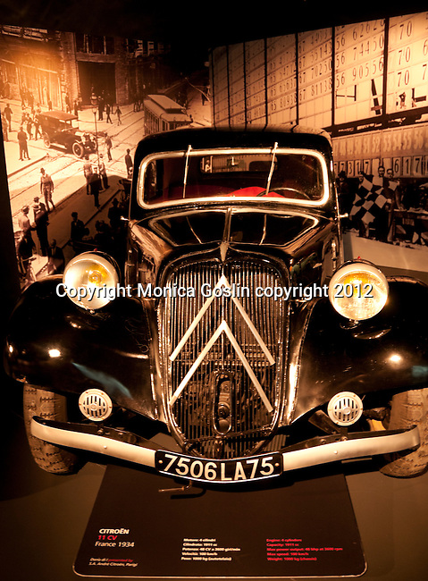 A Citroen 11CV from 1934 in the Car Museum in Turin, Italy with over 170 cards to view