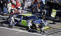 Mar. 1, 2009; Las Vegas, NV, USA; NASCAR Sprint Cup Series driver Jimmie Johnson pits during the Shelby 427 at Las Vegas Motor Speedway. Mandatory Credit: Mark J. Rebilas-
