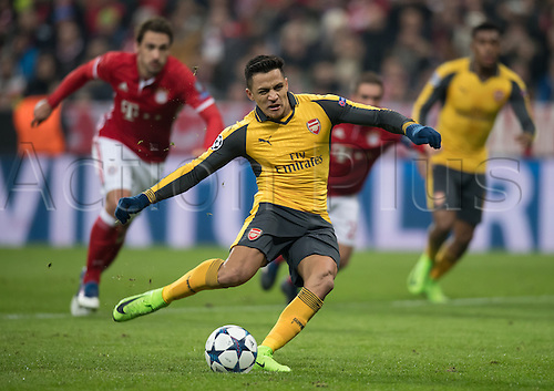 February 15th 2017, Munich, Germany;  Arsenal striker Alexis Sanchez takes but misses a penalty kick in the first leg of the Champions League round of 16 tie between Bayern Munich and FC Arsenal in the Allianz Arena in Munich,