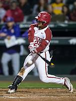 NWA Democrat-Gazette/BEN GOFF @NWABENGOFF<br /> Dominic Fletcher, Arkansas center fielder, hits a RBI single in the 7th inning vs LSU Thursday, May 9, 2019, at Baum-Walker Stadium in Fayetteville.