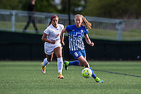 Allston, MA - Sunday, May 22, 2016: Boston Breakers defender Julie King (8) chased by FC Kansas City midfielder Frances Silva (11) during a regular season National Women's Soccer League (NWSL) match at Jordan Field.
