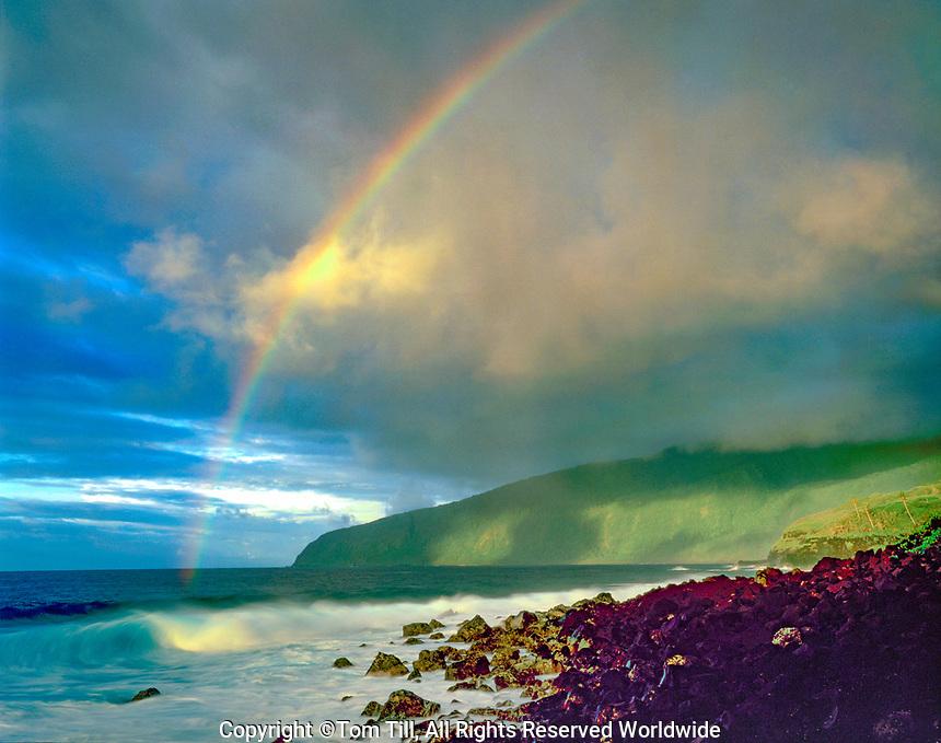 Rainbow at Tufu Point, National Park of American Samoa, American Samoa, South Pacific Ocean Ta'u Island  Official US National Park