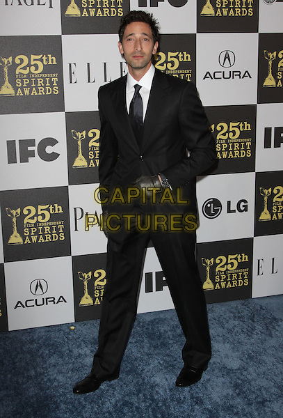 ADRIEN BRODY .25th Annual Film Independent Spirit Awards held At The Nokia LA Live, Los Angeles, California, USA,.March 5th, 2010 ..arrivals Indie Spirit full length black suit tie gloves leather .CAP/ADM/KB.©Kevan Brooks/Admedia/Capital Pictures