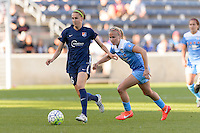 Bridgeview, IL, USA - Sunday, May 29, 2016: Sky Blue FC midfielder Sarah Killion (16) and Chicago Red Stars midfielder Alyssa Mautz (4) during a regular season National Women's Soccer League match between the Chicago Red Stars and Sky Blue FC at Toyota Park. The game ended in a 1-1 tie.
