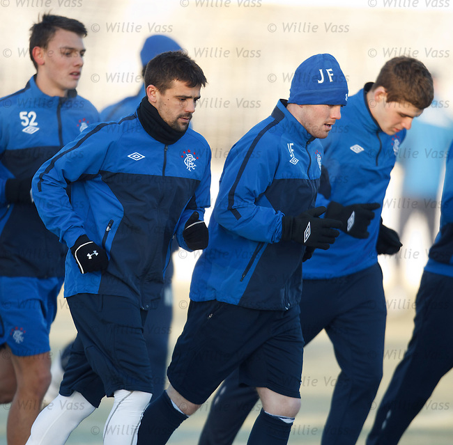 Nacho Novo back at Rangers as he trains with John Fleck during a winter visit back to his family in Scotland